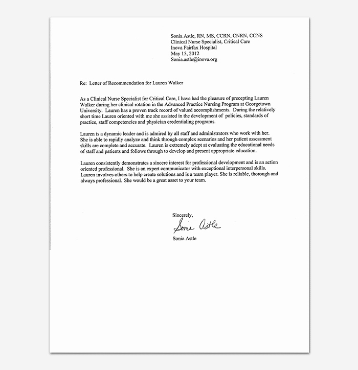 Rn Letter Of Recommendation Unique Nursing Reference Letter
