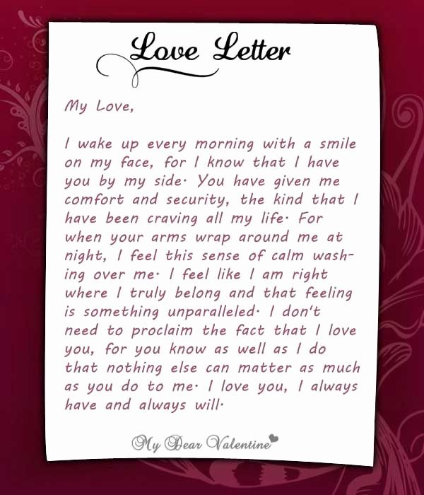 Romantic Letters for Her Unique I Wake Up Every Morning with You at My Side