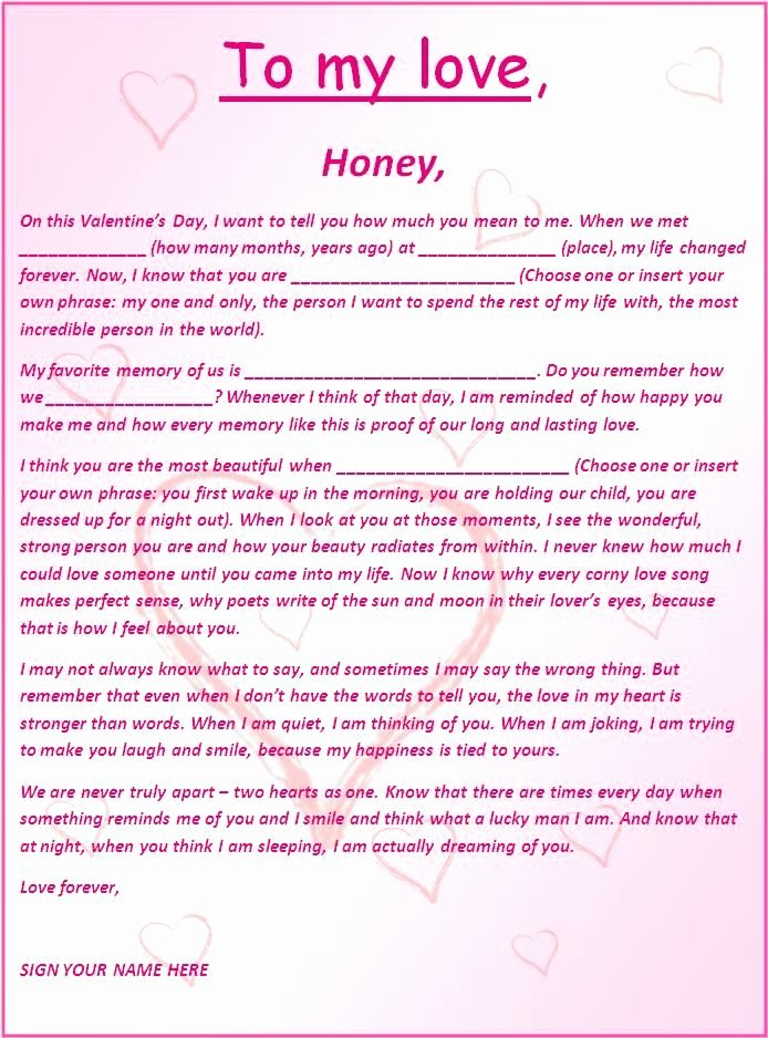 Romantic Love Letter for Him New Romantic and Love Letters Free Word Templates