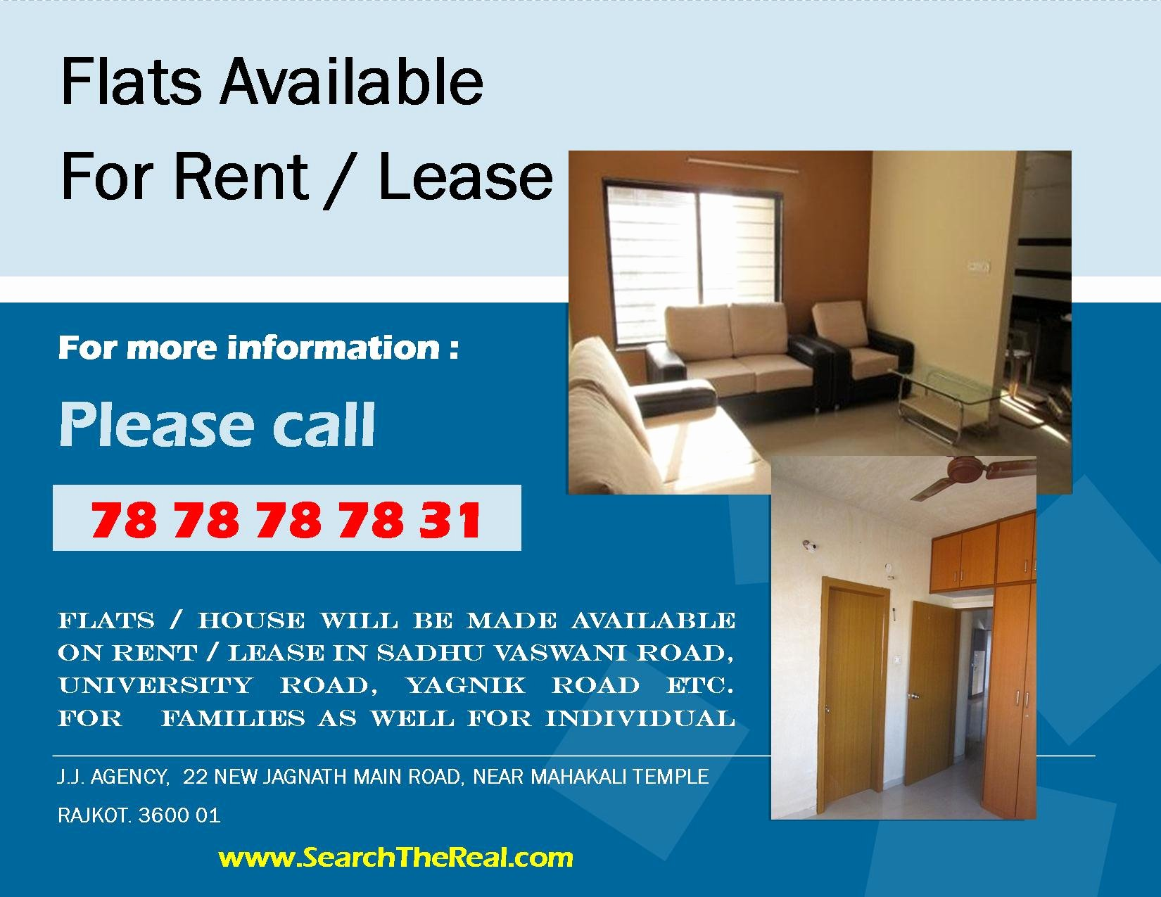 Room for Rent Flyers Beautiful Flat for Rent In Rajkot