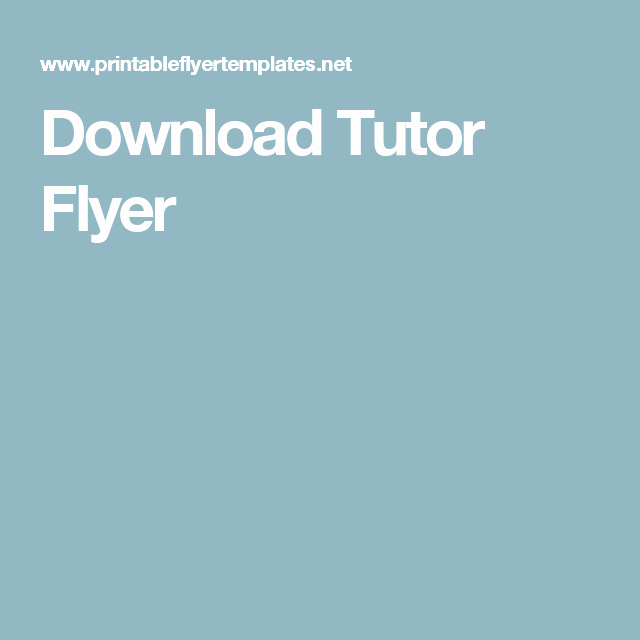 Room for Rent Flyers New Download Tutor Flyer Tutor