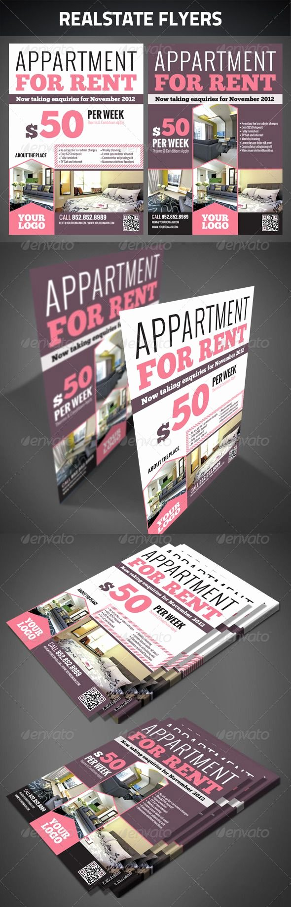 Room for Rent Flyers New Realestate Flyers Graphicriver Realestate Flyers Zip File