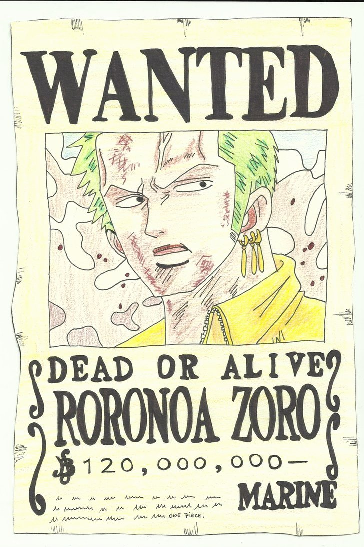 Roronoa Zoro Wanted Poster Fresh Wanted Roronoa Zoro by Zlizroswell On Deviantart