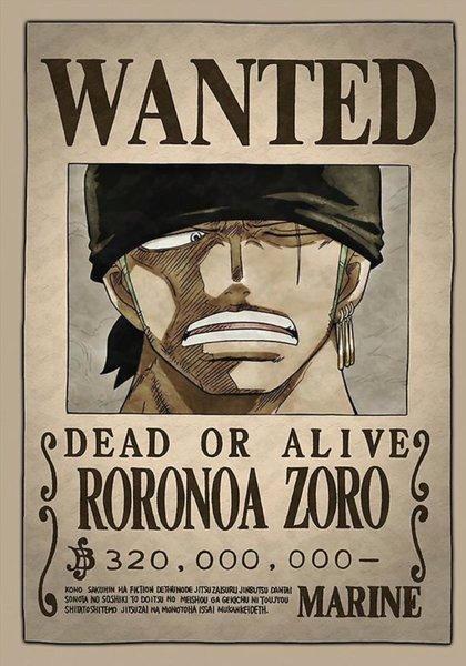 Roronoa Zoro Wanted Poster Luxury Zoro Posters