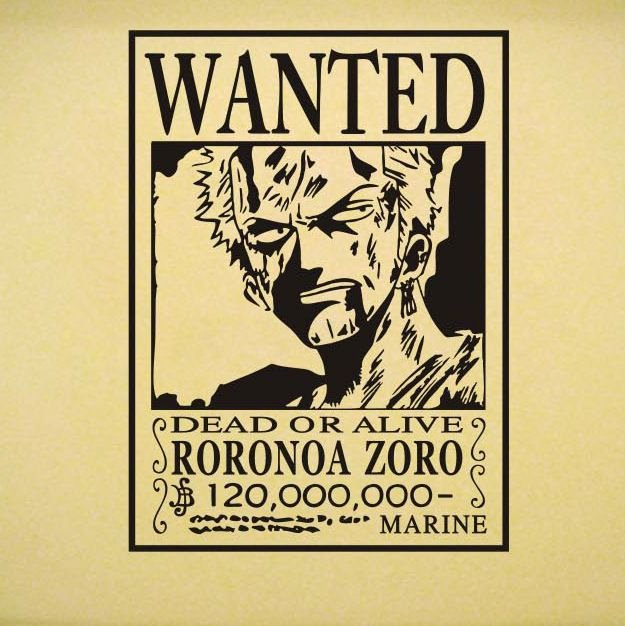 Roronoa Zoro Wanted Poster New Japanese Anime Cartoon Vinyl Wall Decal E Piece Wanted