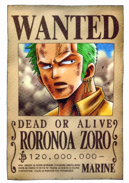Roronoa Zoro Wanted Poster Unique Straw Hats Wanted E Piece Fanpop