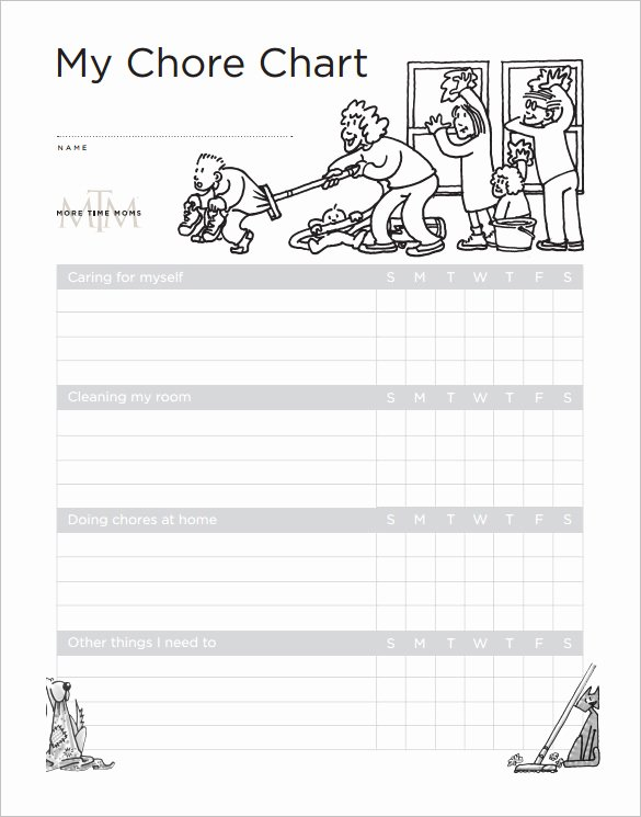 Rotating Chore Chart Template Lovely 11 Sample Weekly Chore Chart Template Free Sample
