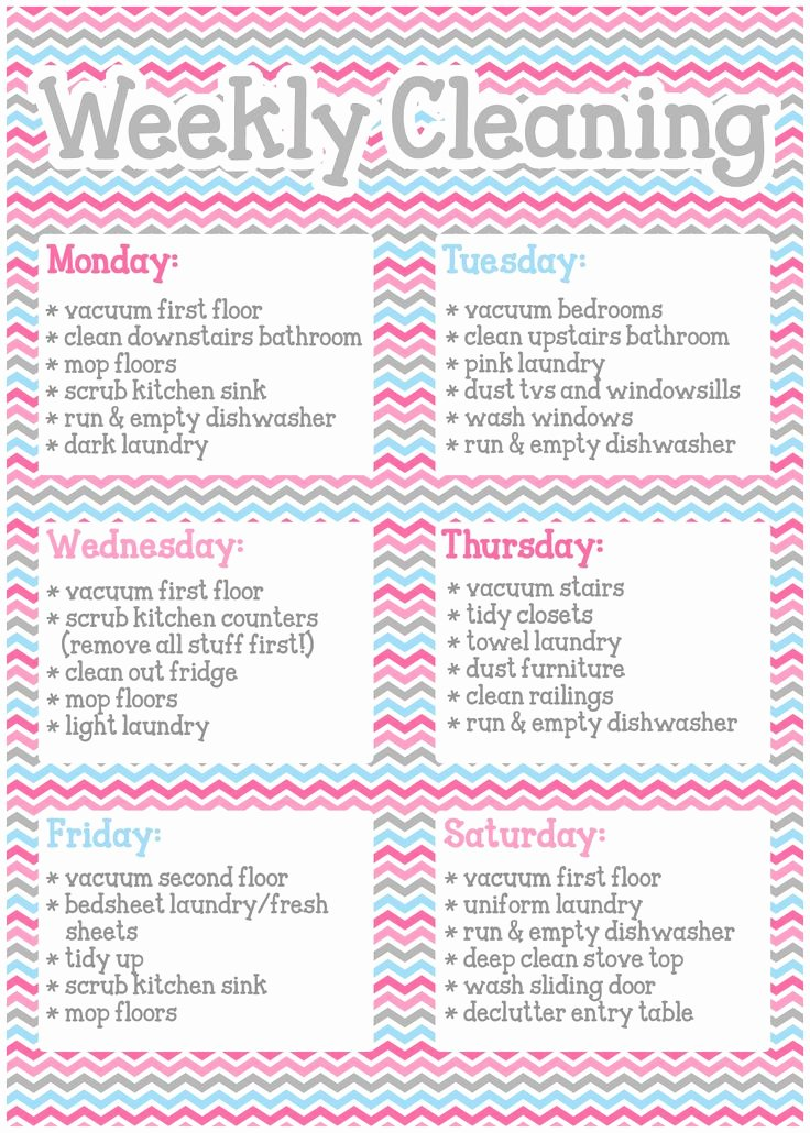 Rotating Chore Chart Template Luxury Basic Weekly Cleaning Schedule Not Including Rotating