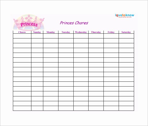Rotating Chore Chart Template Luxury Weekly Chore Chart Template 24 Free Word Excel Pdf
