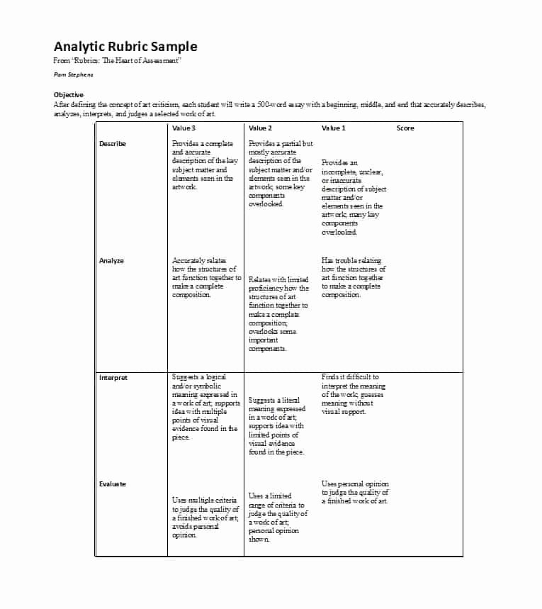 Rubric Template Microsoft Word Elegant 46 Editable Rubric Templates Word format Template Lab