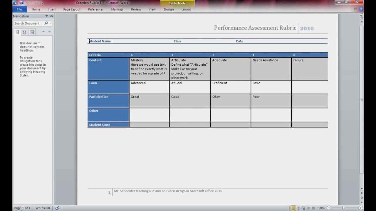 Rubric Template Microsoft Word New Rubric Design Using Microsoft Word 2010 Pt 1 Of 4