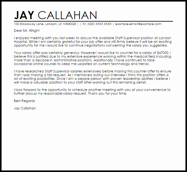 Salary Negotiation Letter to Employer Awesome Counter Fer Job Letter Example