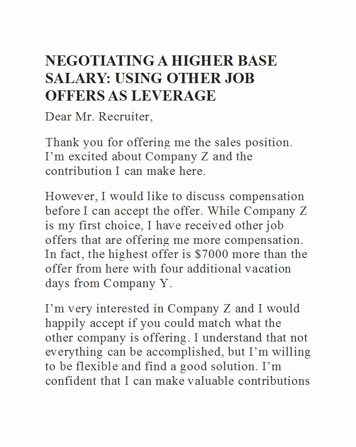 Salary Negotiation Letter to Employer Beautiful 49 Best Salary Negotiation Letters Emails & Tips