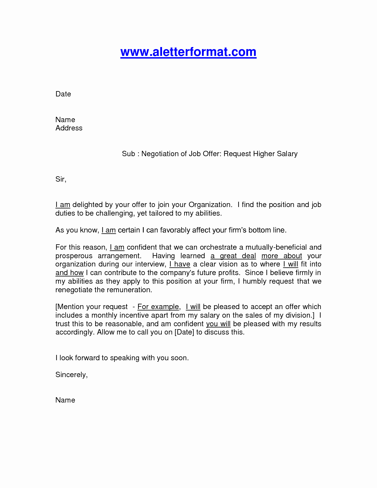 Salary Negotiation Letter to Employer Inspirational Salary Negotiation Letter