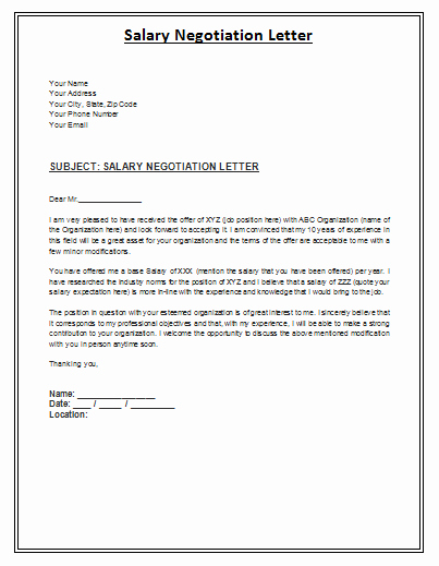 Salary Negotiation Letter to Employer Luxury Salary Negotiation Letter is A formal Archive Posed by