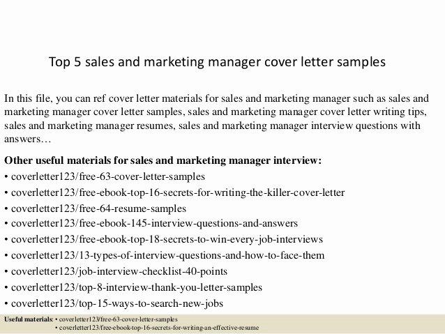 Sales and Marketing Coordinator Elegant top 5 Sales and Marketing Manager Cover Letter Samples