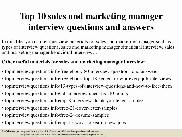 Sales and Marketing Coordinator Inspirational top 10 Sales and Marketing Manager Interview Questions and