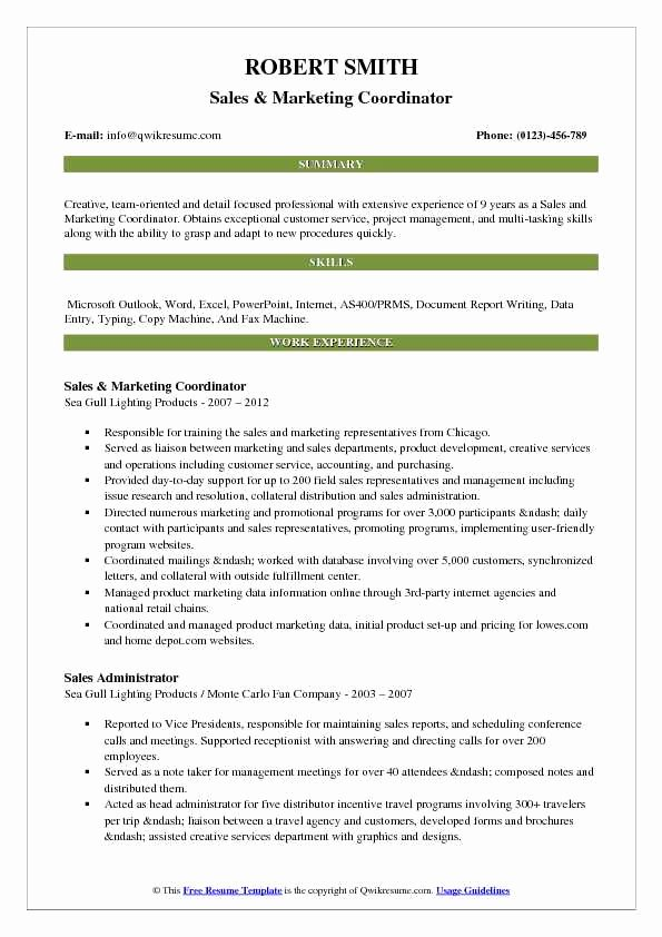 Sales and Marketing Coordinator Luxury Sales and Marketing Coordinator Resume Samples