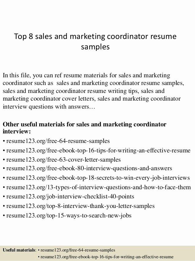 Sales and Marketing Coordinator Luxury top 8 Sales and Marketing Coordinator Resume Samples