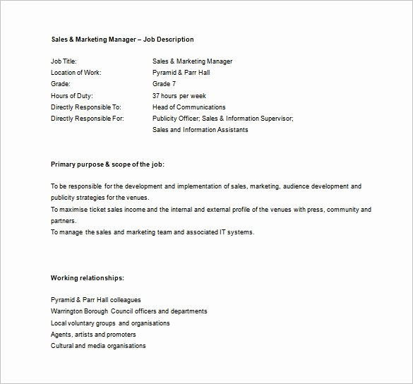 Sales and Marketing Coordinator Unique Sales Manager Job Description Template 11 Free Word