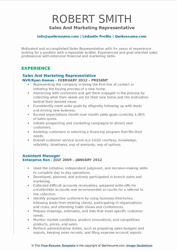 Sales and Marketing Resume Samples Awesome Sales and Marketing Representative Resume Samples
