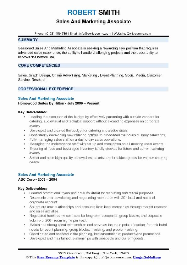 Sales and Marketing Resume Samples Beautiful Sales and Marketing associate Resume Samples
