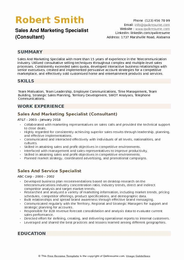 Sales and Marketing Resume Samples Beautiful Sales and Marketing Specialist Resume Samples