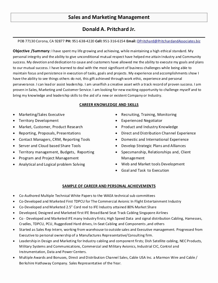 Sales and Marketing Resume Samples Best Of Sales and Marketing Management Resume