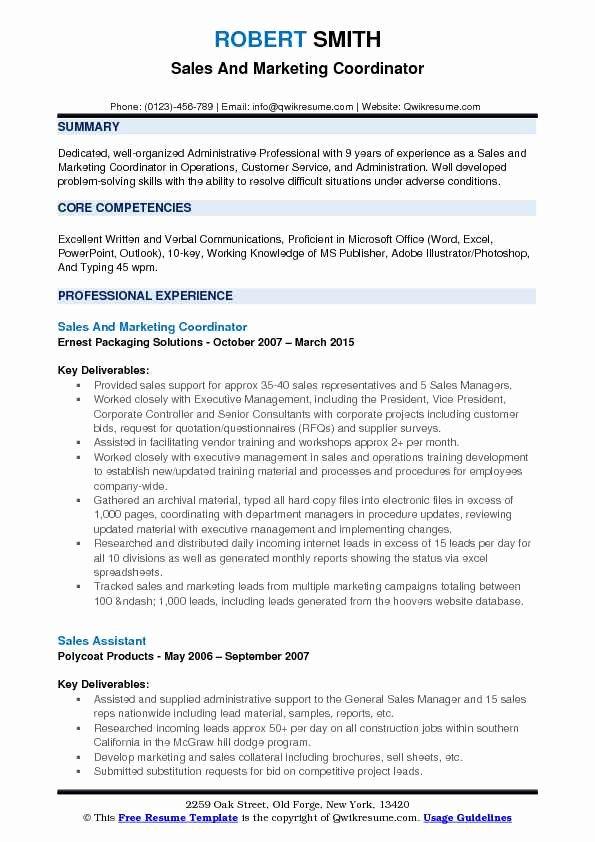 Sales and Marketing Resume Samples Elegant Sales and Marketing Coordinator Resume Samples