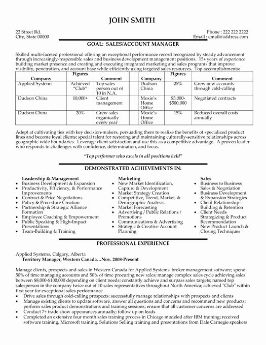 Sales and Marketing Resume Samples Inspirational A Resume Template for A Sales and Marketing Manager You