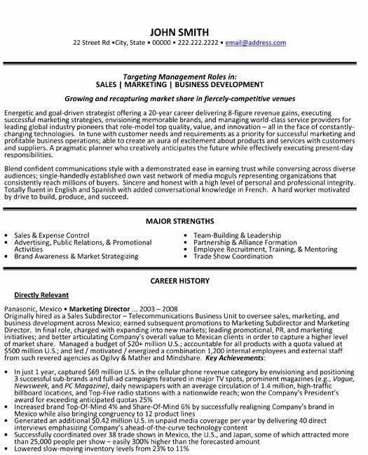 Sales and Marketing Resume Samples Inspirational Marketing Director Resume Sample & Template
