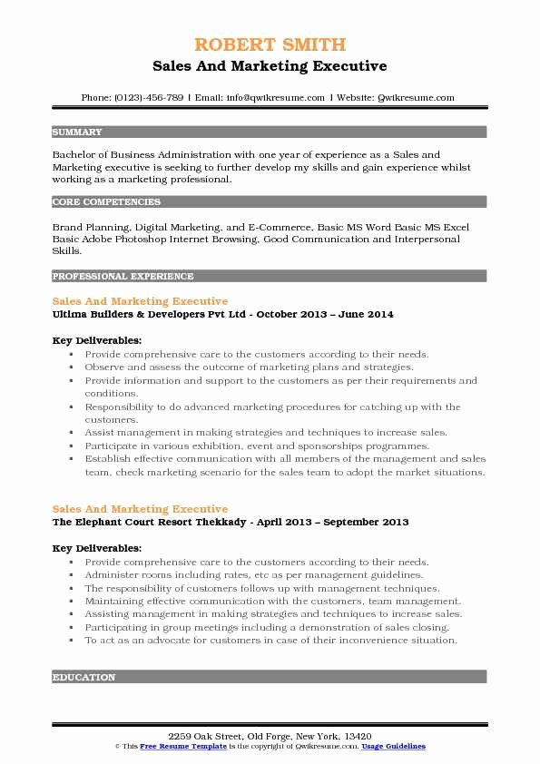 Sales and Marketing Resume Samples Lovely Sales and Marketing Executive Resume Samples