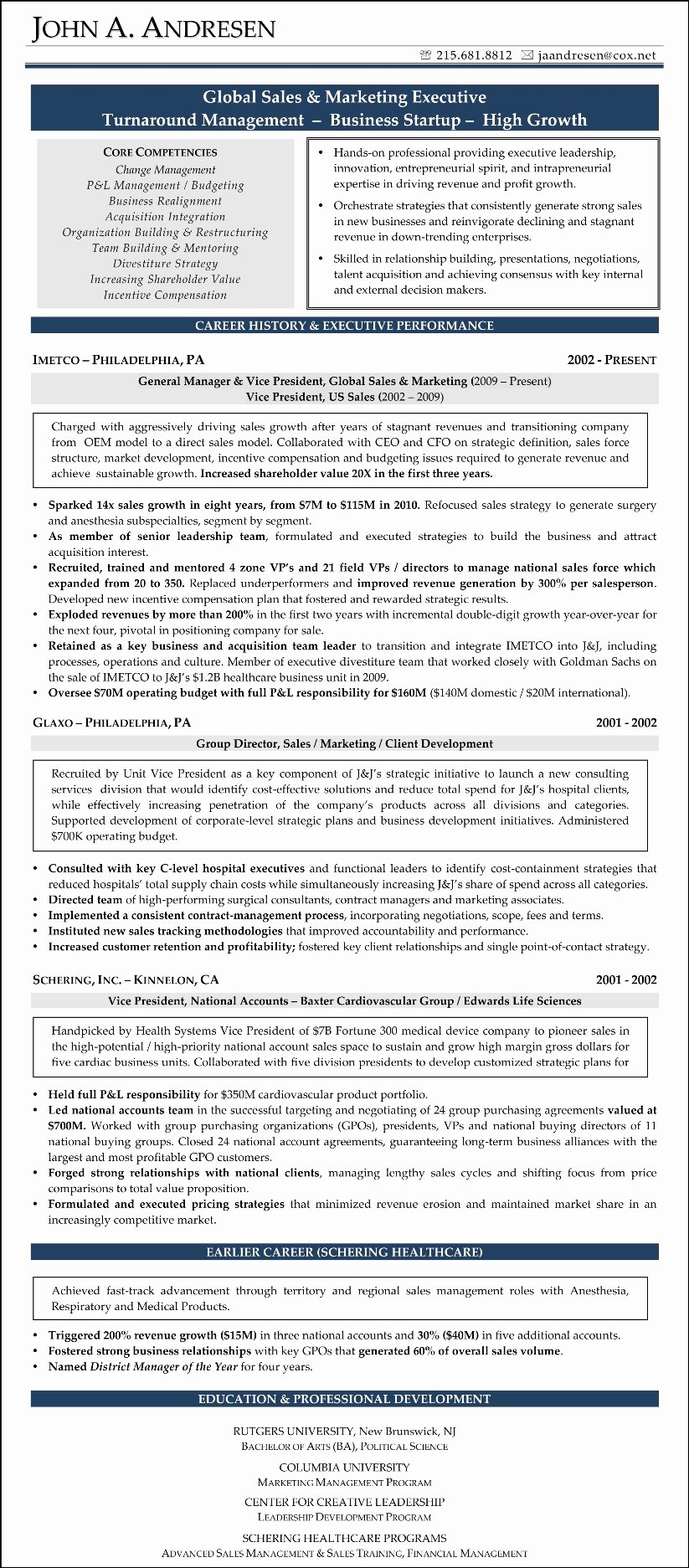 Sales and Marketing Resume Samples Lovely Sample Résumé Sales & Marketing