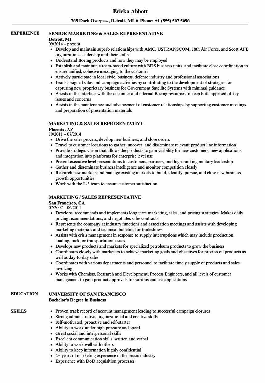 Sales and Marketing Resume Samples New Marketing & Sales Representative Resume Samples