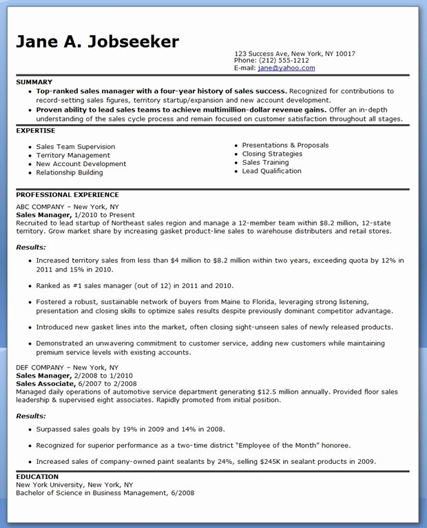 Sales and Marketing Resumes Samples Awesome Sales Manager Resume Sample Marketing