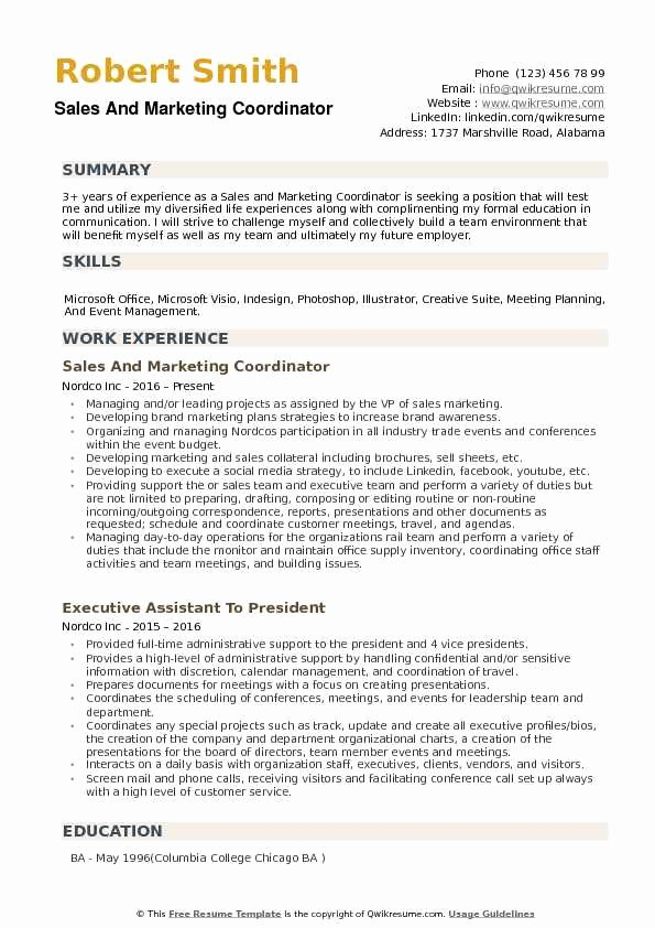 Sales and Marketing Resumes Samples Best Of Sales and Marketing Coordinator Resume Samples