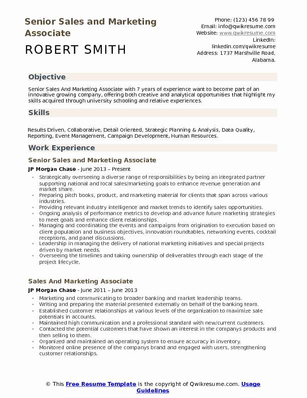 Sales and Marketing Resumes Samples Elegant Sales and Marketing associate Resume Samples
