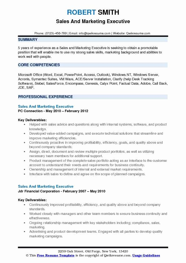 Sales and Marketing Resumes Samples Fresh Sales and Marketing Executive Resume Samples
