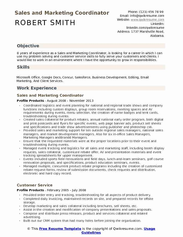 Sales and Marketing Resumes Samples Luxury Sales and Marketing Coordinator Resume Samples