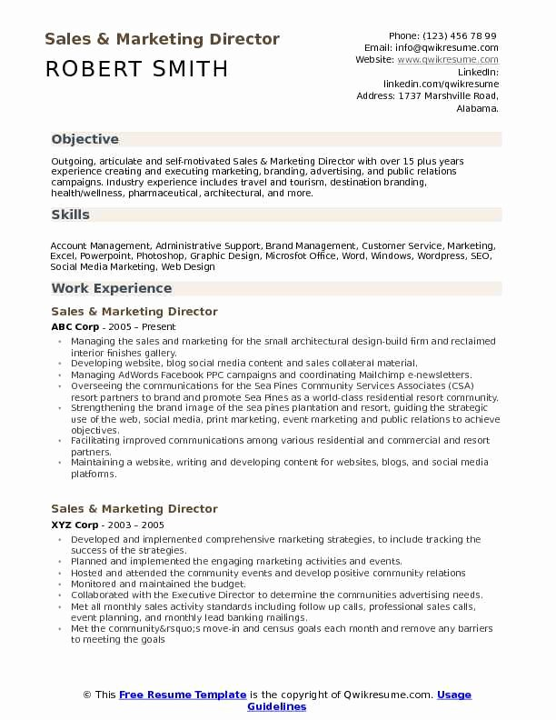 Sales and Marketing Resumes Samples Luxury Sales and Marketing Director Resume Samples