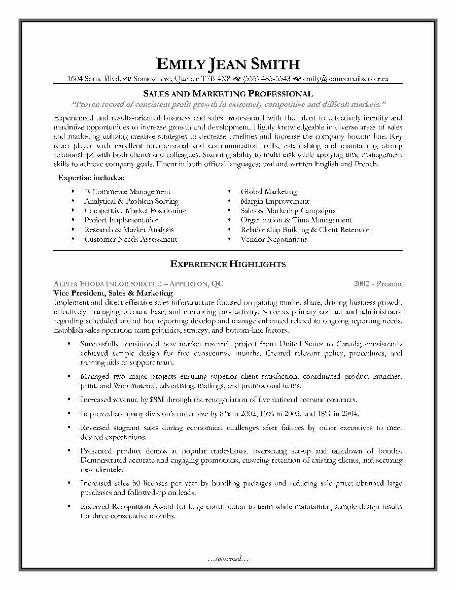 Sales and Marketing Resumes Samples Unique Sales and Marketing Resume Sample Page 1