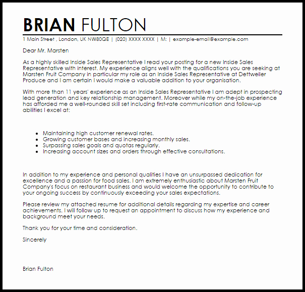 Sales Cover Letter Examples Beautiful Inside Sales Representative Cover Letter Sample