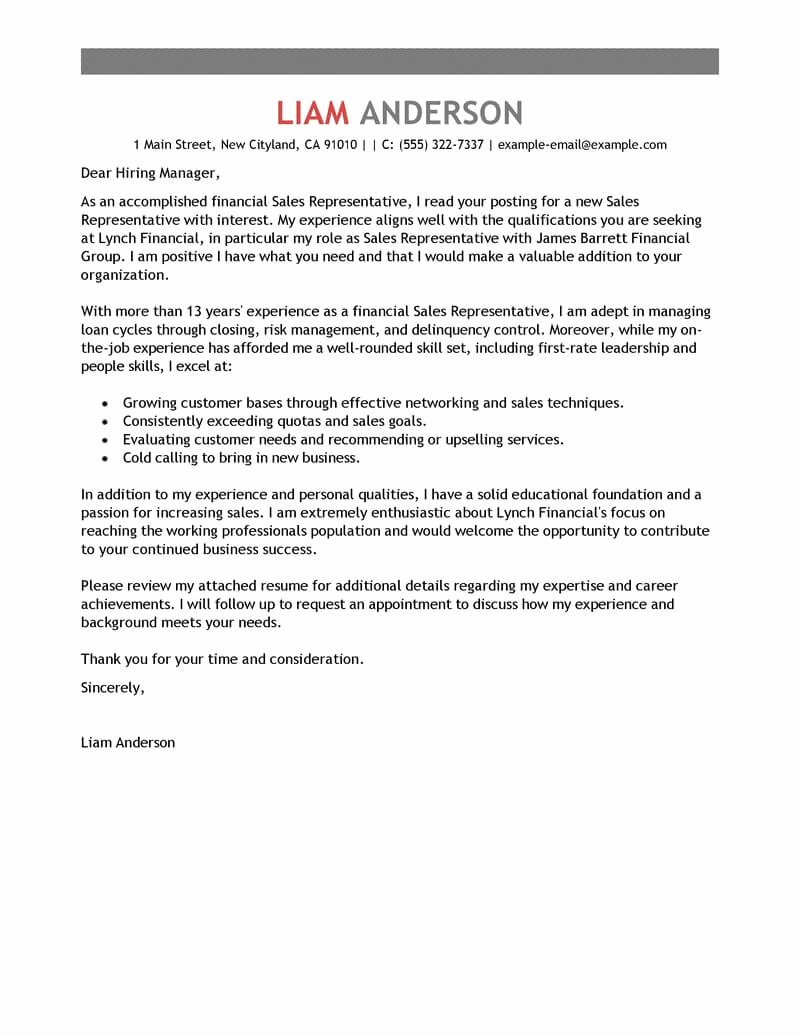 Sales Cover Letter Examples New Best Sales Representative Cover Letter Examples