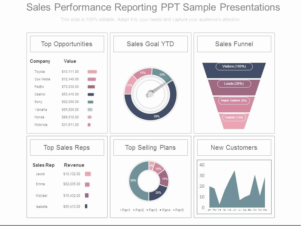 Sales Presentation Powerpoint Examples Fresh Sales Performance Reporting Ppt Sample Presentations