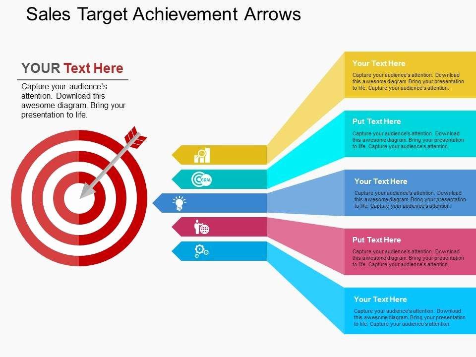 Sales Presentation Powerpoint Examples Luxury Sales Tar Achievement Arrows Flat Powerpoint Design