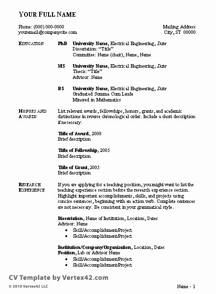 Sample Academic Curriculum Vitae Awesome 17 Best Ideas About Curriculum Vitae Examples On Pinterest