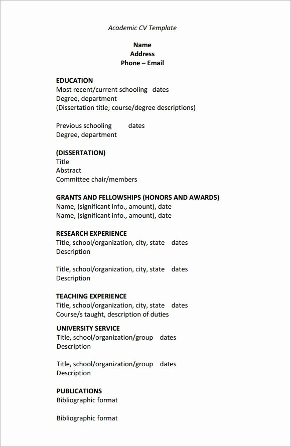 Sample Academic Curriculum Vitae Beautiful 25 Of Template Academic Cv