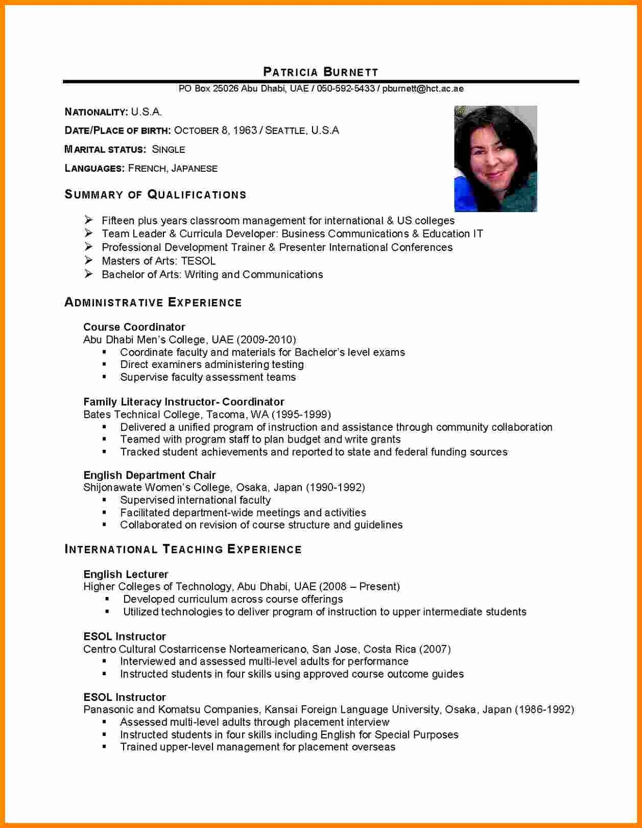 Sample Academic Curriculum Vitae Best Of 9 Curriculum Vitae English Example Student