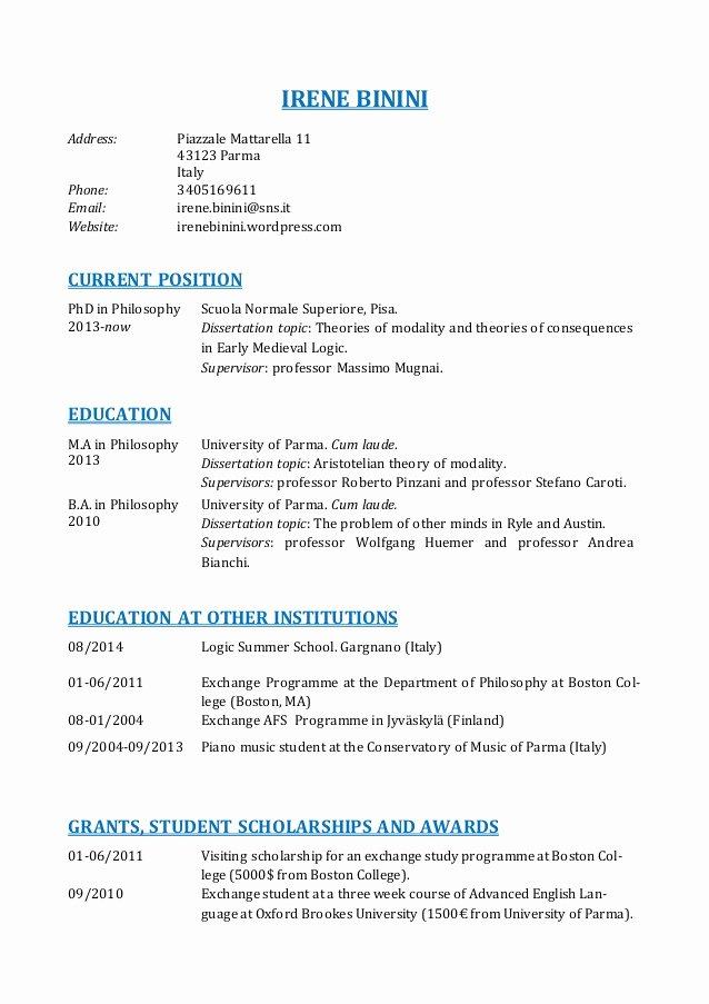 Sample Academic Curriculum Vitae Best Of Curriculum Vitae Curriculum Vitae Academic