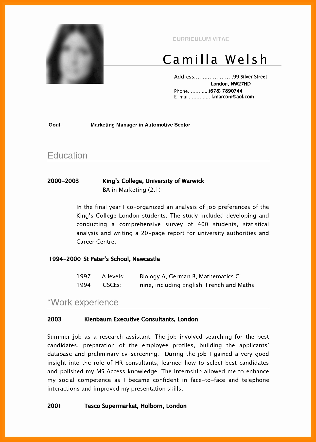 Sample Academic Curriculum Vitae Elegant 5 Cv Samples for Undergraduate Students